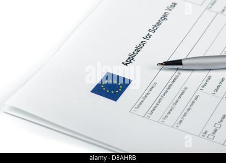 Blank applicatoin for Schengen Visa and pen - Stock Photo