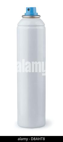 White aerosol spray can isolated on white - Stock Photo