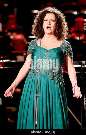Leipzig, Germany. 21st May 2013. Austrian mezzo-soprano Angelika Kirschlager performs during the European Cultural - Stock Photo