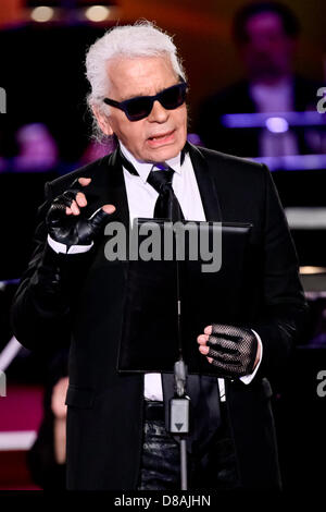 Leipzig, Germany. 21st May 2013. German fashion designer Karl Lagerfeld  receives the European Culture Prize during - Stock Photo