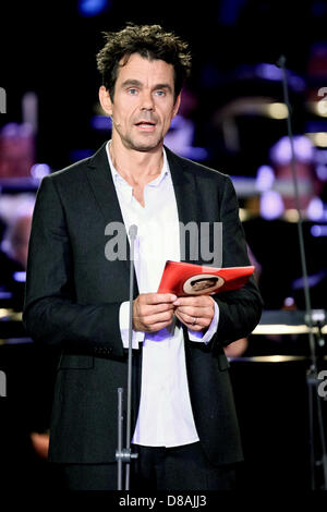 Leipzig, Germany. 21st May 2013. Director Tom Tykwer stands on stage during the European Cultural Awards ceremony - Stock Photo