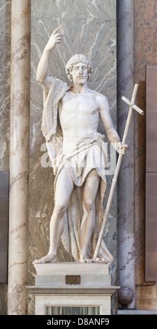 Statue of St. John the Baptist, Giovanni Obici, basilica of Saint Mary above Minerva, Santa Maria sopra Minerva, - Stock Photo