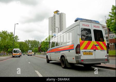 Police cordon off John Wilson Street in Woolwich, Southeast London, following the murder of soldier Lee Rigby in - Stock Photo