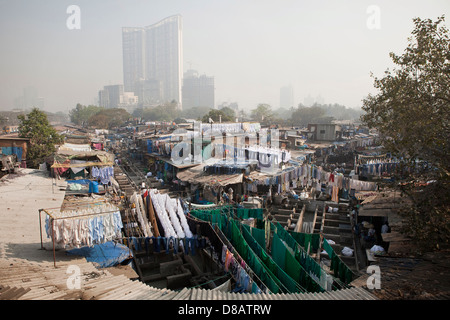 Dhobi Ghat, a well known open air laundromat in Mumbai, India - Stock Photo
