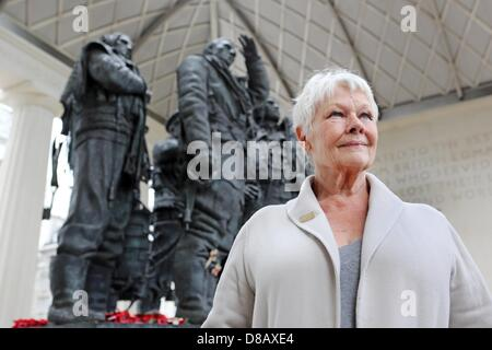 London, UK. 21st May 2013. Dame Judi Dench visited the Bomber Command Memorial in London and was unveiled as the - Stock Photo