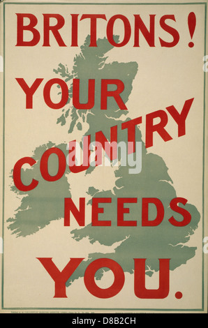 Britons! Your country needs you 1914 British Enlist Popaganda  Map of Britain - Stock Photo
