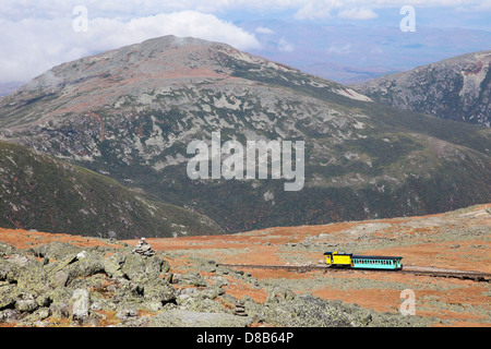 Mount Washington Cog Railroad to the peak in the White Mountains, Coos County, New Hampshire, United States. - Stock Photo