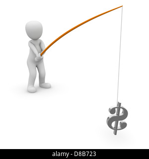 A 3d character fishing a doller sign. - Stock Photo