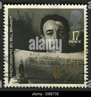 UK - CIRCA 1985: A stamp printed in UK shows image of the Peter Sellers (from photo by Bill Brandt), British Film - Stock Photo