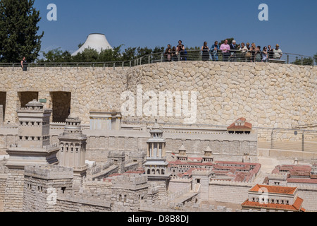Jerusalem. Tourists watch a model of Jerusalem during the roman period at the Israel museum. shrine of the book - Stock Photo