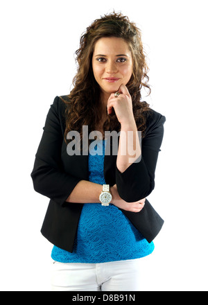 Attractive young woman expressing herself - Stock Photo