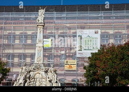 Building renovation, scaffolding, Georgsbrunnen fountain, Trier, Rhineland-Palatinate, Germany, Europe - Stock Photo