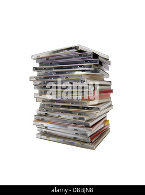 stack of plastic compact disk covers isolated on white  background. - Stock Photo