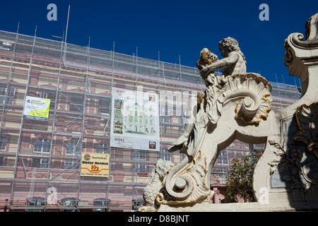 Building renovation, scaffolding, Georgsbrunnen fountain, Trier, Rhineland-Palatinate, Germany, Europe - Stock Photo