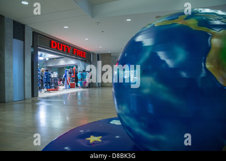 Israel. A Globe near a Duty Free shop at Ben-Gurion (TLV) airport - Stock Photo