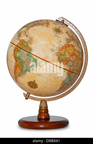 Antique world globe isolated on a white background with clipping path. - Stock Photo
