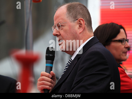 Peer Steinbrück (SPD) speaking at the 150th anniversary of the Social Democratic Party of Germany in Leipzig, Germany. - Stock Photo