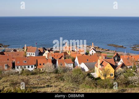 Gudhjem at the Baltic Coast on the island Bornholm, Denmark - Stock Photo