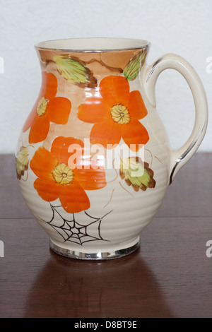 1930s Art Deco Hand Painted Jug By Hughes Pottery Longport