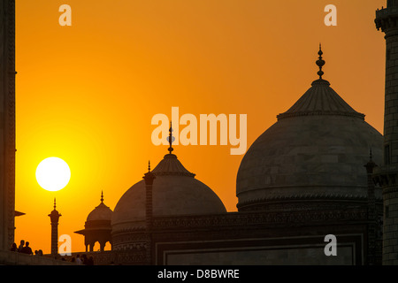 Taj Mahal sunset view from the banks of the Yamuna river - Stock Photo