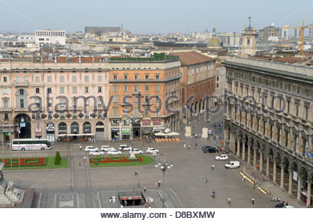 High angle view of a city, Milan, Lombardy, Italy - Stock Photo