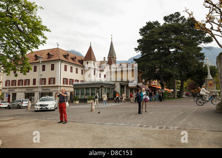 Tourists visiting the streets of Merano, South Tyrol, Italy - Stock Photo