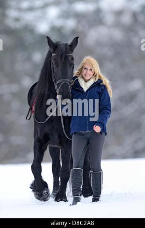 Female rider with her horse, Upper Palatinate, Bavaria, Germany, Europe - Stock Photo