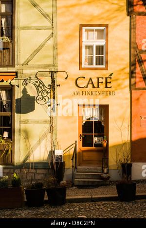 Café at the historic center of Quedlinburg. - Stock Photo