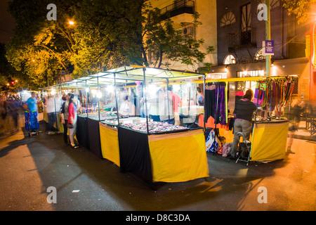 Street market at night in Palermo neighborhood.