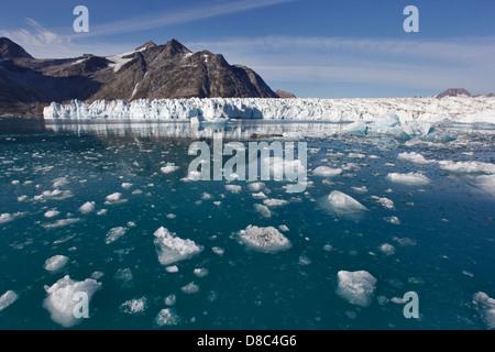 Knud Rasmussen glacier in a big fjord near Kulusuk, Greenland - Stock Photo