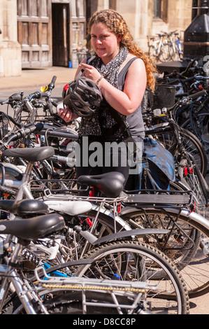 Bikes in Cambridge, England, Britain, Uk - Stock Photo