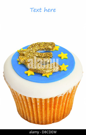 Cupcake decorated with Euro sign and flag. - Stock Photo