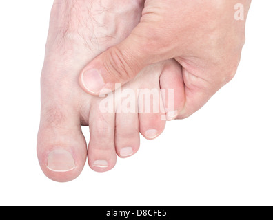 Caucasian male hand massaging foot isolated on white background. - Stock Photo