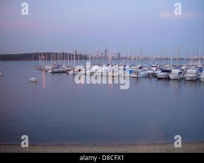 Boats moored at royal perth yacht club. - Stock Photo