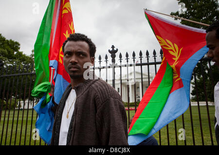 Eritreans protest for democratic change and human rights in Eritrea - Washington, DC USA - Stock Photo
