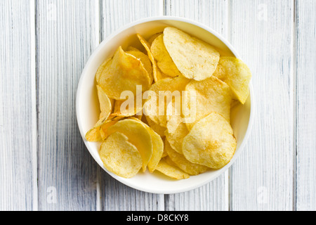 the crispy potato chips in bolw - Stock Photo