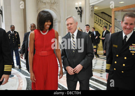US First Lady Michelle Obama walks with Secretary of the Navy Ray Mabus during a visit to the US Naval Academy April - Stock Photo