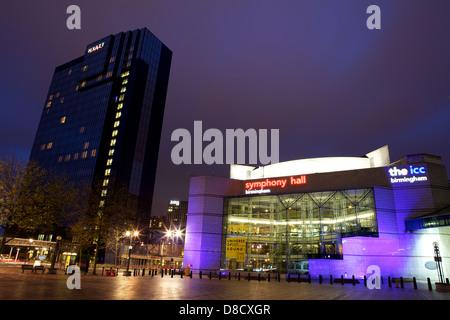 Hyatt Hotel, Symphony Hall & the ICC Birmingham taken in Centenary Square in Birmingham City Centre at night with - Stock Photo