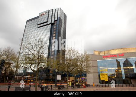 Hyatt Hotel, Symphony Hall & the ICC Birmingham taken in Centenary Square in Birmingham City Centre in evening with - Stock Photo