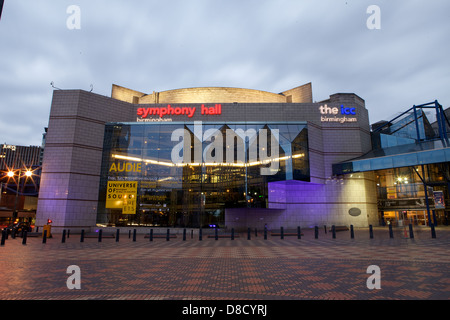 Symphony Hall & the ICC Birmingham taken in Centenary Square in Birmingham City Centre at night with lights on - Stock Photo