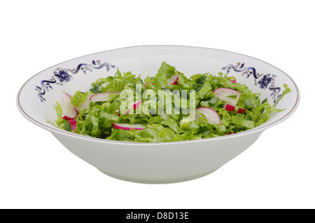 Salad with red radish, isolated on white - Stock Photo