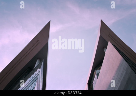 Abstract facade lines and glass on modern building. Architectural detail. - Stock Photo