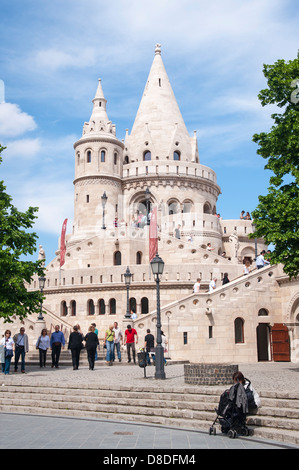 Hungary Budapest Fishermen's Bastion built 1895 by Frigyes Schulek style Magyar tents viewing terrace balcony once - Stock Photo