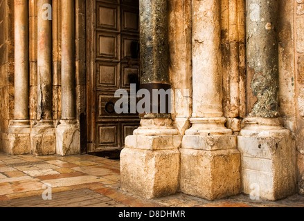 The door of the church of the Holy Sepulcher in Jerusalem - Stock Photo