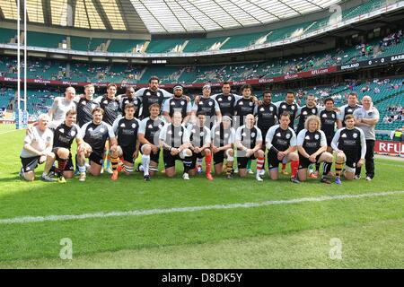 London, UK. 26th March, 2013.  Barbarians Team shot prior to the match between England and Barbarians from Twickenham. - Stock Photo