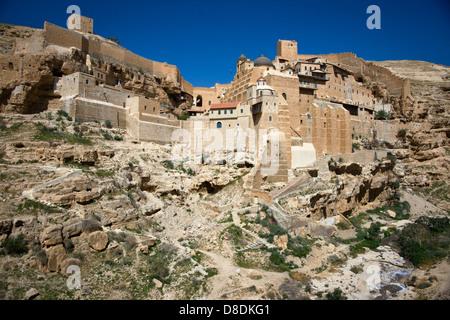 Great Lavra of St. Sabbas the Sanctified (Mar Saba)  Greek Orthodox monastery, Kidron Valley, Palestine - Stock Photo