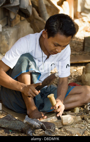 Carving Burmese marionettes in Mandalay, Myanmar 5 - Stock Photo
