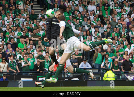 Glasgow, Scotland. 26th May, 2013. Gary Hooper of Celtic scores to make it 2-0 during the William Hill Scottish - Stock Photo