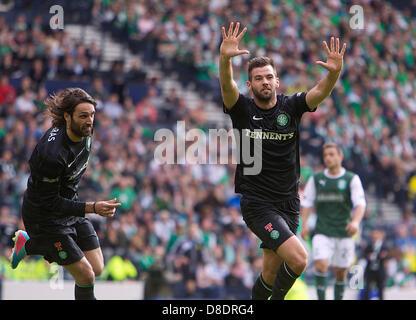 Glasgow, Scotland. 26th May, 2013.       Celtic's Joe Ledley celebrates scoring  to mke it 3-0 during the William - Stock Photo