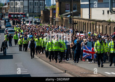 Woolwich, London, UK. 26th May, 2013. Thousands march in Woolwich to remember slain soldier Drummer Lee Rigby Credit: - Stock Photo